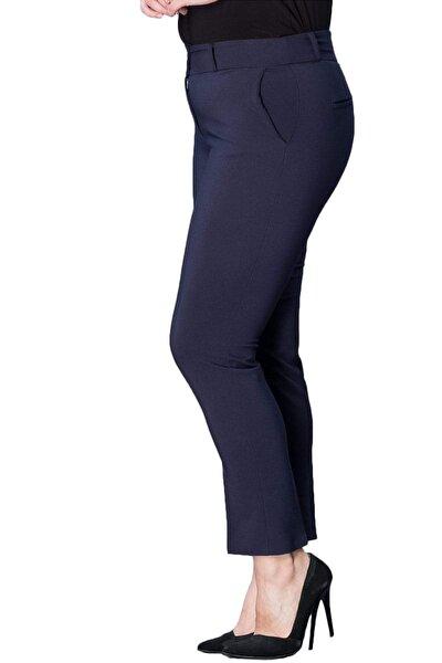 Büyük Beden Lacivert Yüksek Bel Likralı Bilek Boy Cepli Kumaş Pantolon