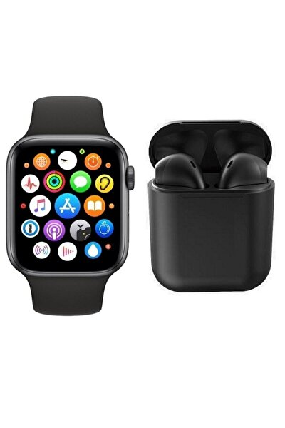 Smart Watch + Airpods 12 Siyah Tws Kablosuz Kulaklık İkili Kombin T500