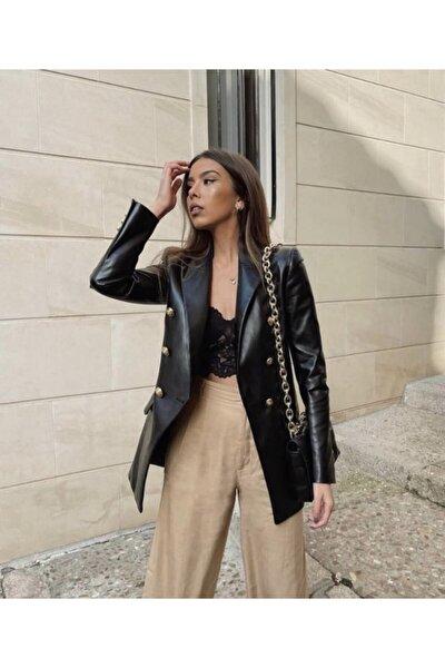 Kadın Blazer Deri Ceket Altın Düğmeli
