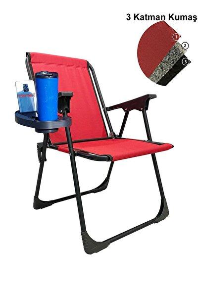 Katlanır Kamp Piknik Sandalyesi Plaj Koltuğu Katlanır Şezlong Ve Oval Bardaklık Kırmızı