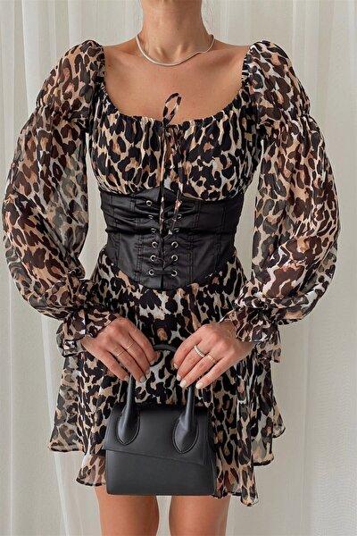 Kadın Olivia Korsaj Leopar Desen Elbise