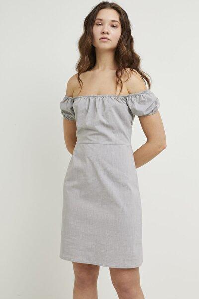 Kadın Gri Büzgülü Mini Elbise