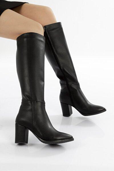 Kadın Siyah Diz Altı Fermuarlı Topuklu Çizme