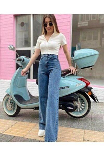 Carla 90's Mavi Likralı Süper Yüksek Bel Salaş Jean Pantolon. (SÜPER YÜKSEK) Wide Leg
