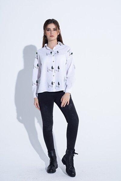 Kadın Beyaz Ağaç Desen Detaylı Gömlek