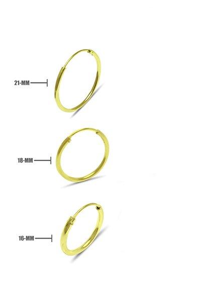 Tek Kulak 3'lü Halka 925 Ayar Saf Gümüş Altın Kaplama Küpe 21/18/16 mm