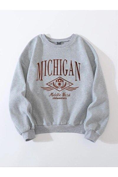 Kadın Gri Mıchıgan Nakış Detay Oversize Örme Sweatshirt