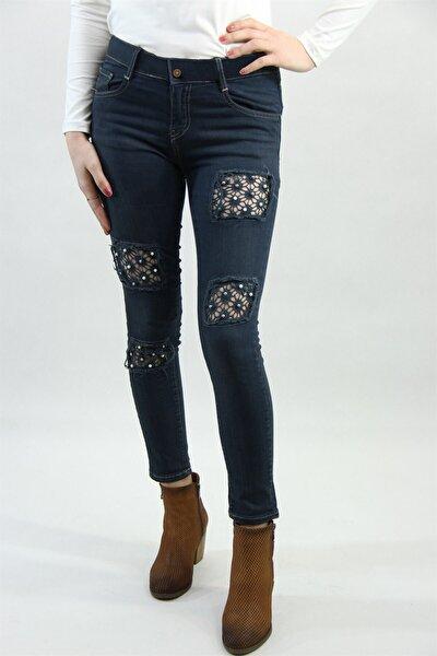 Lacivert Bayan Likralı Jeans Pantolon 214081lcv