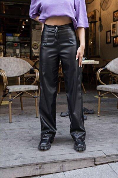 Siyah Suni Deri Straight Fit Pantolon