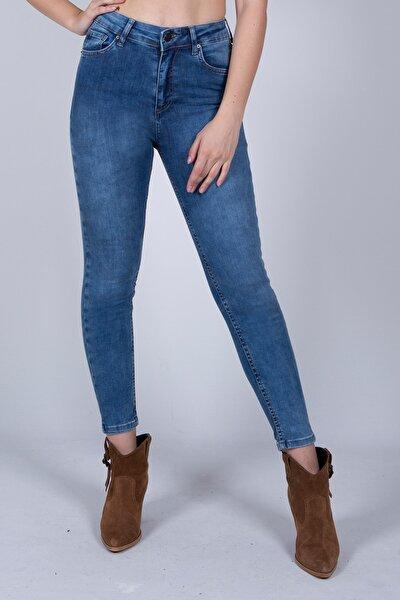 Kadın Koyu Mavi Likralı Yüksek Bel Jean 5060733-878