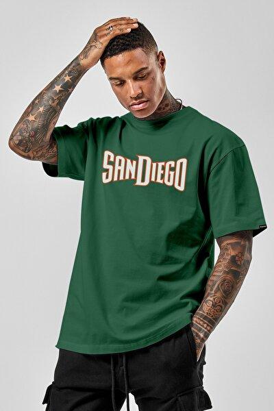 Oversize Sandiego Beyaz Baskılı Yeşil Tshirt