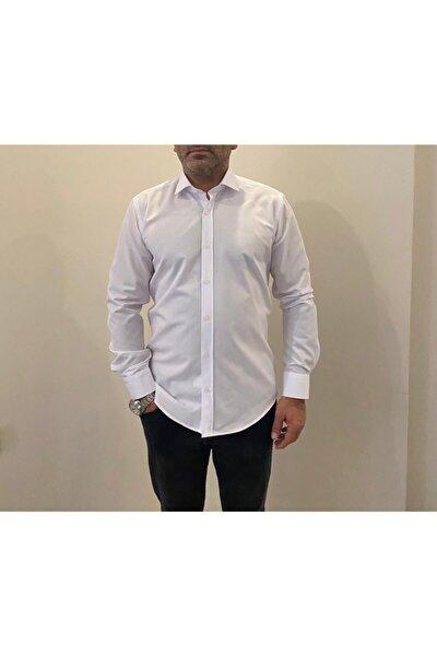 Slim Fit Düz Beyaz Dacron Gömlek