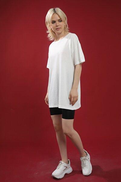 Beyaz Pamuk Bisiklet Yaka Oversize Örme Tshirt