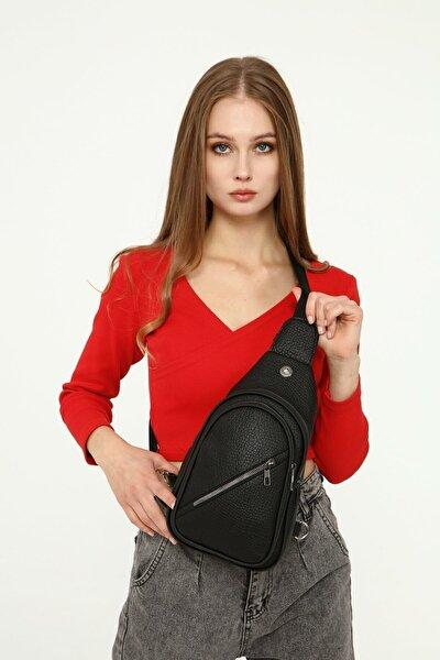 Unisex Siyah Sırt Ve Göğüs Çantası Çapraz Bodybag Çanta