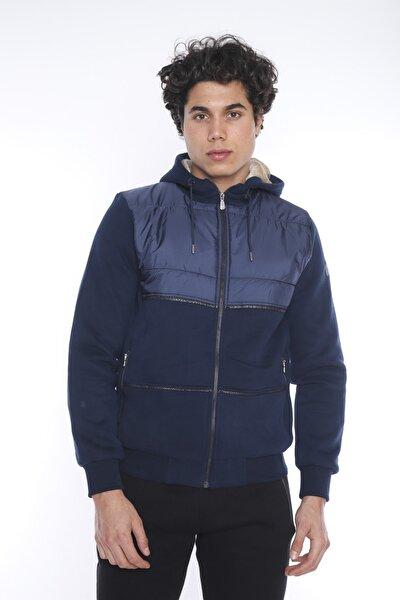 Erkek Spor Royal Kapüşonlu İçi Peluş Astarlı Sweatshirt