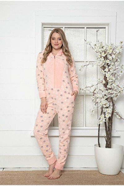 Wellsoft Peluş Polar Kapüşonlu Cepli Fermuarlı Tulum Pijama 20005