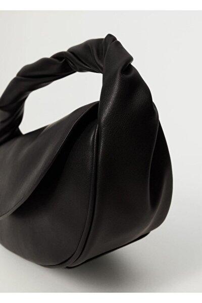 Kadın Siyah Kapaklı Baguette Çanta