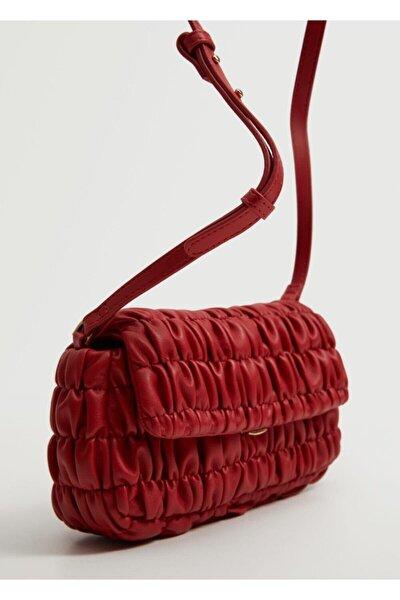 Kadın Kırmızı Büzgü Detaylı Çanta