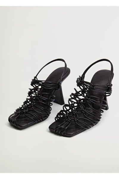Kadın Siyah Düğümlü Topuklu Sandalet