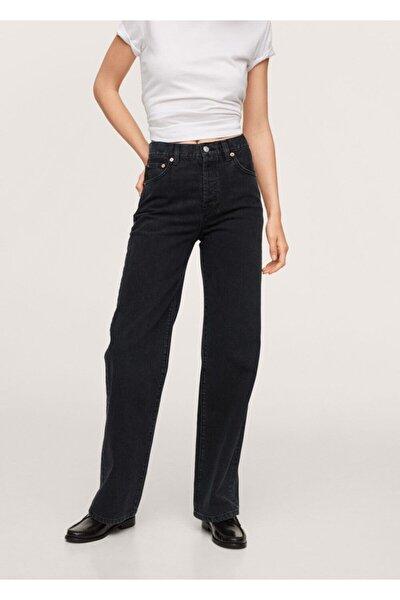 Kadın Siyah denim Düz Kesimli Yüksek Bel Jean Pantolon