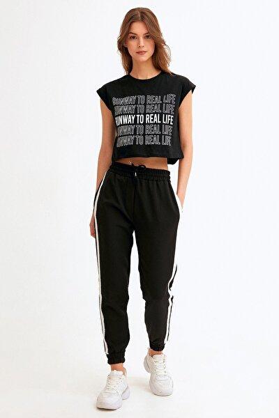 Yanları Şeritli Paçası Lastikli Pantolon