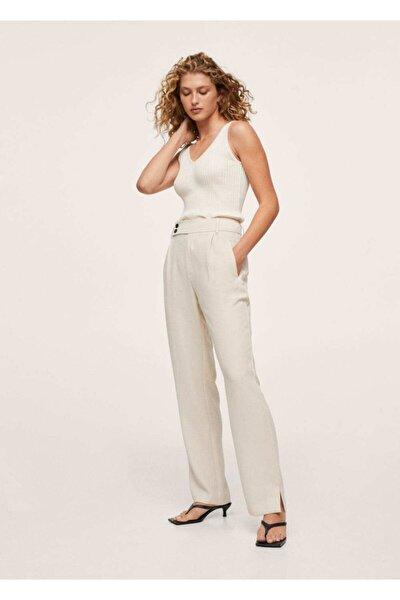 Kadın Kırık Beyaz Pilili Takım Pantolonu