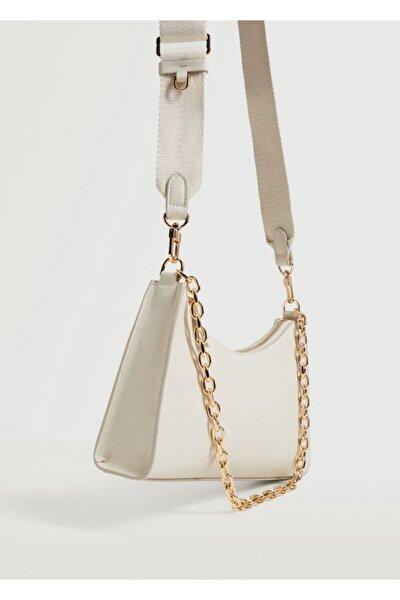 Kadın Kırık Beyaz Zincirli Çapraz Çanta
