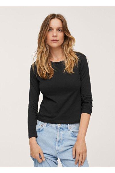 Kadın Siyah %100 Pamuklu Tişört