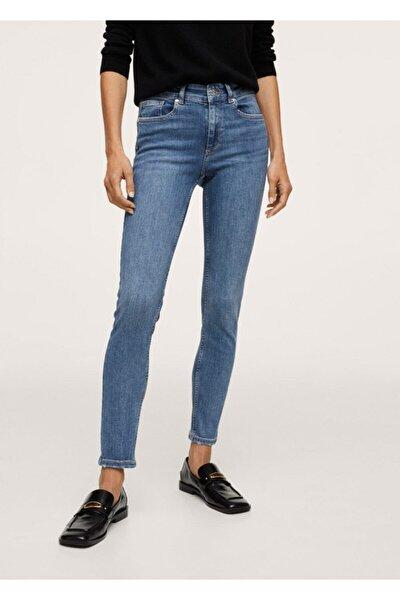 Kadın Donuk Mavi Skinny Push-up Jean Pantolon