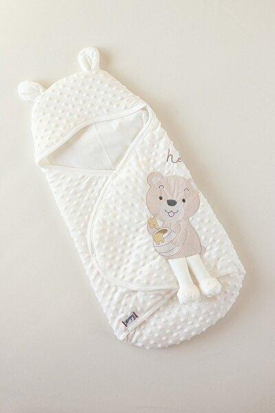 Unisex Bebek Beyaz Sevimli Topitos Nakışlı Velboa Kundak