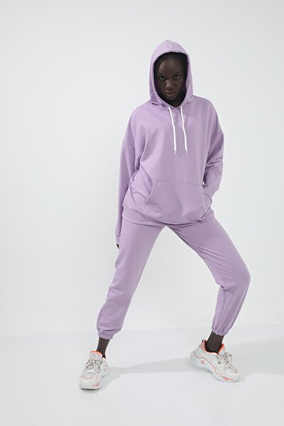 Lila Iki Iplik Oversize Kapüşonlu Kanguru Cepli Örme Sweatshirt