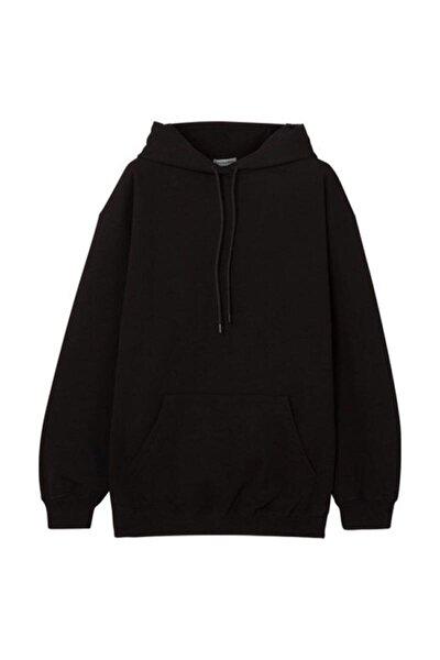 Unisex Siyah Kapüşonlu Kangru Cep Oversize Sweatshirt