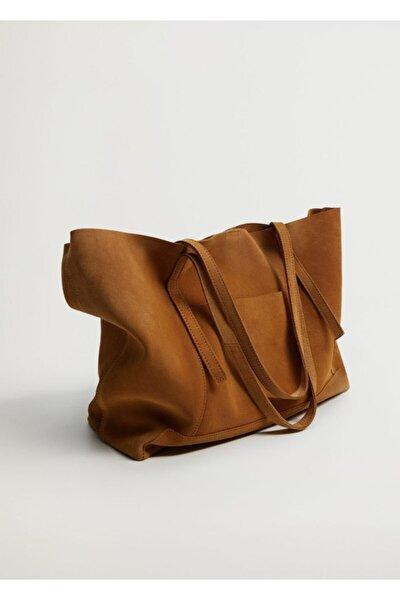 Kadın Orta Kahverengi Deri Shopper Çanta