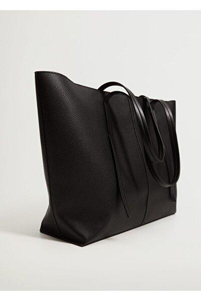 Kadın Siyah Pürtüklü Shopper Çanta