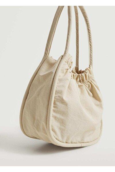 Kadın Kırık Beyaz Büzgülü Çanta