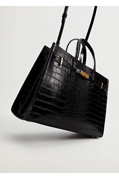 Kadın Siyah Timsah Derisi Efektli Shopper Çanta