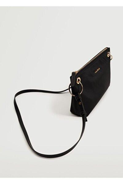 Kadın Siyah Logolu Çapraz Çanta