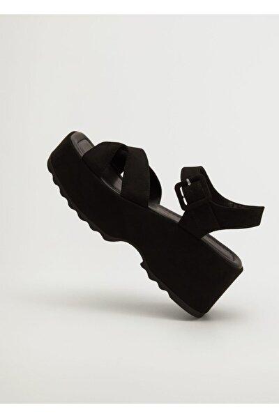 Kadın Siyah Platformlu Bantlı Sandalet