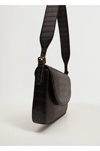 Kadın Siyah Timsah Derisi Desenli Kapaklı Çanta