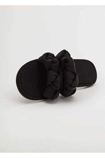 Kadın Siyah Düğümlü Bantlı Sandalet