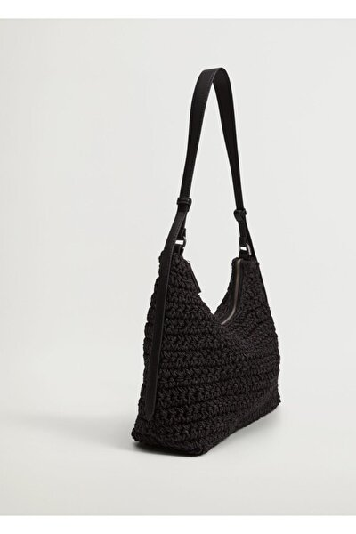 Kadın Siyah Hasır Örülü Çanta