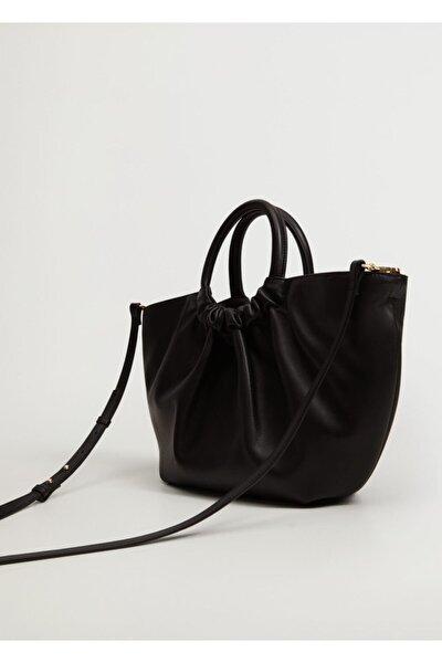 Kadın Siyah Pilili Shopper Çanta