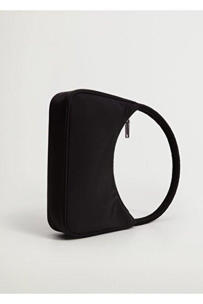 Kadın Siyah Kıvrımlı Askılı Baguette Çanta