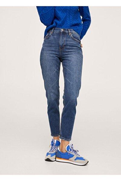 Kadın Koyu Mavi Mom Kesim Jean Pantolon