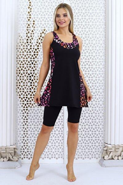 Kadın Siyah Desenli Taytlı Elbise Mayo