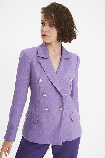 Lila Düğme Detaylı Blazer Ceket TWOAW21CE0345