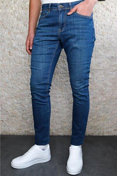 Erkek Mavi Slim Fit Taşlamalı Kot Pantolon Hlthe001943