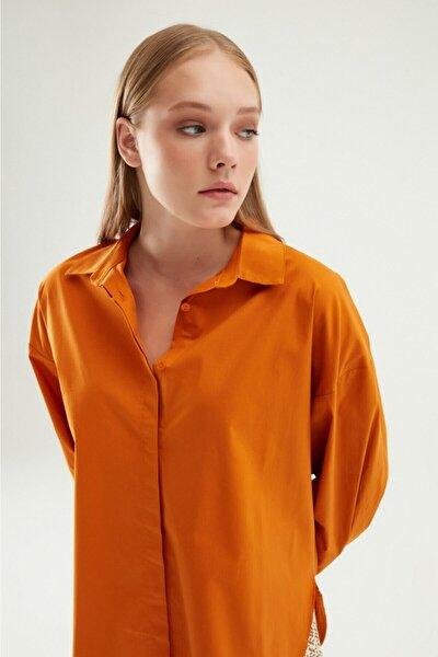 Oversize Basic Gömlek Koyu Oranj