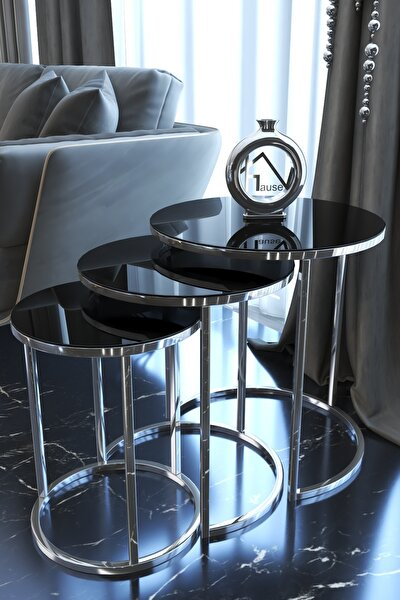 Gümüş Metal Zigon Sehpa ''siyah Kırılmaz Ayna ''