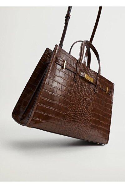 Kadın Kahverengi Timsah Derisi Efektli Shopper Çanta